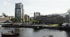 Belfast Riverscape IV (avalard) Tags: bridge boats cityscape victorian belfast northernireland urbanlandscape countyantrim oddmanout riverlagan belfastlough belfastcitycentre albertmemorialclock