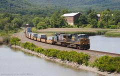 Overseas Express (imartin92) Tags: newyork train stack container ge freight dash8 generalelectric csx hudsonvalley ionaisland rocklandcounty riverline intermodal es44dc gevo c408w cw408 es40dc riversubdivision