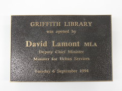 Griffith Library Opening Plaque (ArchivesACT) Tags: libraries canberra griffith griffithlibrary davidlamont archivesact