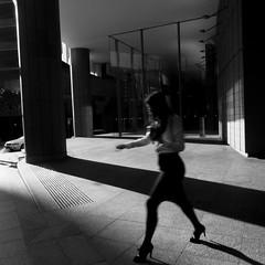 stuck on the treadmill (Albion Harrison-Naish) Tags: blackandwhite blur monochrome square candid sydney australia olympus squareformat nsw newsouthwales em5 sydneystreetphotography streetphotogoraphy olympusem5 olympusm1250mmf3563