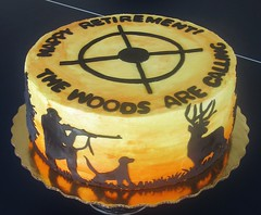 Hunting Retirement Cake (daniyellee) Tags: bear sunset cake wolf hunting deer retirement crosshair