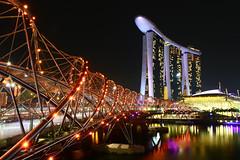 The Helix Bridge|Singapore (TommyYeung) Tags: bridge night singapore clear thehelix lovelycity flickrhongkong thehelixbridge flickrhkma