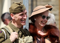 Brighouse 1940s Weekend -  IMG_0611 (grab a shot) Tags: uk england woman man canon vintage soldier army eos war uniform military yorkshire wwii 1940s 7d ww2 reenactment westyorkshire civilian worldwar2 oldfashioned livinghistory 2014 brighouse calderdale warweekend