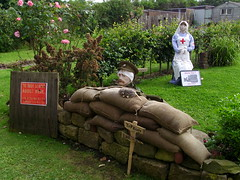 World War I scarecrows (Nekoglyph) Tags: festival soldier rat uniform village display anniversary yorkshire wwi pipe scarecrow tommy trench worldwarone nurse tradition sandbags 2014 centenary portmulgrave hinderwell