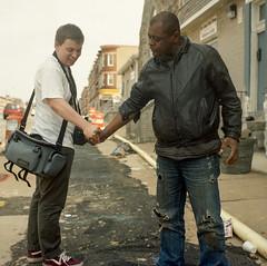 (patrickjoust) Tags: street city people urban usa man west color 120 6x6 tlr film broken smile analog america
