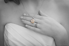 Closeup of Bride's Necklace and Ring B&W (VirtualMirage) Tags: flowers wedding blackandwhite bw necklace plumeria sony sigma maryland noflash ring diamond weddingring weddingband 1835mm sigma1835mmf18dchsm a77ii ilcaa77m2