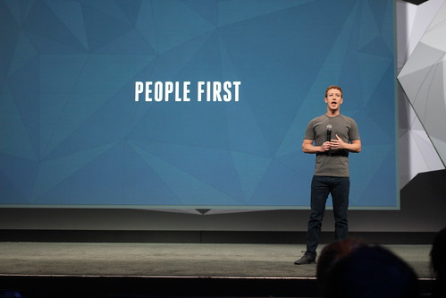 Mark Zuckerberg on stage at Facebook's F by pestoverde, on Flickr