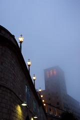 Lamp post and fog (aligranu) Tags: barcelona travel summer españa holiday church abbey fog spain europe streetphotography lamppost montserrat catalunya barcellona spagna 2014 monestir travelphotography monestirdemontserrat sonyalpha sonyalpha350