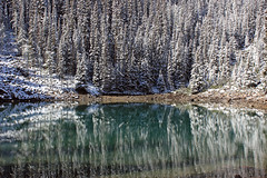 Mirrored (JB by the Sea) Tags: distortion snow canada reflection rockies mirrorlake alberta banff rockymountains lakelouise banffnationalpark canadianrockies september2014