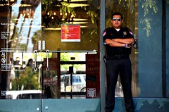 Security of America (Pedestrian Photographer) Tags: california door summer man male glass cali america pull la los arms angeles walk guard bank august boa southern socal aug friday koreatown crossed ribbet ktown 2014 dsc6650 dsc6650b
