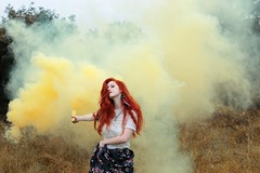 (Marine Lemartrier) Tags: nature girl fashion forest smoke redhead automn