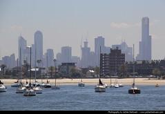 Skyline seen from St Kilda Pier, Melbourne, Australia (JH_1982) Tags: city urban water st skyline boats pier boat cityscape view australia melbourne victoria vic australien kilda australie austrlia urbanity   australi