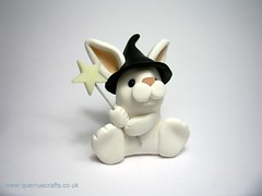Little Witch Bunny (QuernusCrafts) Tags: cute rabbit bunny halloween witch wand polymerclay witchshat quernuscrafts