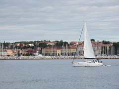Sailboat in Lone Bay and view of Rovinj, Croatia (Paul McClure DC) Tags: architecture scenery croatia historic rovigno rovinj adriatic istria hrvatska istra oct2012 lonebay