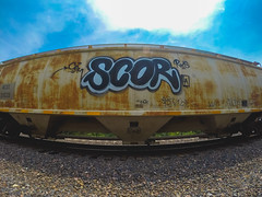 SCOR (◀︎Electric Funeral▶︎) Tags: railroad art digital train photography graffiti midwest nebraska paint railway iowa fremont kansascity railcar missouri lincoln kansas traincar omaha graff aerosol hopper freight csm desmoines freighttrain rollingstock councilbluffs benched gopro rxs benching scor freighttraingraffiti fr8train goprohero3 fr8heaven
