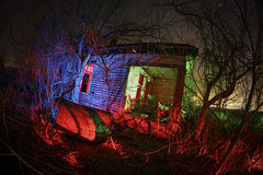 Abandoned Home Nocturne III (Notley Hawkins) Tags: rural missouri notley notleyhawkins 10thavenue httpwwwnotleyhawkinscom missouriphotography notleyhawkinsphotography lightpainting bluelight greenlight blue green night nocturne 光绘 光繪 lichtmalerei pinturadeluz ライトペインティング प्रकाशपेंटिंग ציוראור اللوحةالضوء abandoned longexposure ruralphotography trees red redlight rgb outdoor architecture house 2017 january howardcountymissouri winter tangle tree texture brush fisheye