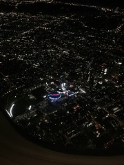 What a fucken mission... (HumbertoSolis) Tags: la lax staplescenter lakers dtla downtown plane night airplane cali ca lights sky areal