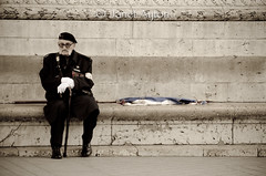 War Veteran at Arc De Triomphe (Janet Ayton) Tags: city paris france de nikon war alone all sitting flag arc triomphe rights janet veteran reserved medals ayton d7000 jdcristiani