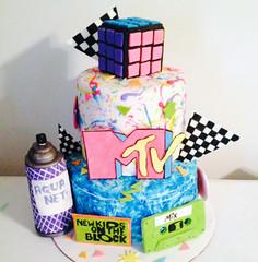 80scake (CakeFreak) Tags: birthday new party net cake kids aqua tape 80s mtv cube block hairspray cassette rubiks