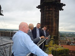 "Stephen Mosley MP and Culture Secretary Sajid Javid MP on tour of Cathedral at Height • <a style=""font-size:0.8em;"" href=""http://www.flickr.com/photos/51035458@N07/14389871355/"" target=""_blank"">View on Flickr</a>"