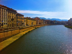 Arno River in Pisa Italy (marcinekmichal) Tags: old italy sun art water skyline clouds buildings wow river fun nice view things hills pisa tuscany arno artisan tuscan eataly