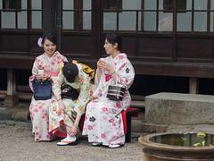 足ちら (kasa51) Tags: street people girl japan temple tokyo candid kimono sensojitemple mzuikodigital45mmf18 浅草寺伝法院庭園