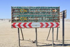 Swakopmund to Henties Bay, C34 (jbdodane) Tags: wlotzkasbaken africa bicycle cycletouring cycling cyclotourisme day579 dorobnationalpark namibia road rust salt saltroad sign skeletoncoast velo freewheelycom jbcyclingafrica