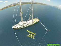 GP0STOH9K (Greenpeace International) Tags: outdoors islands day aerialview wideangle greece banners seas oilexploration oilspills actionsandprotests climatecampaigntitle myrainbowwarrioriii kwcigpi