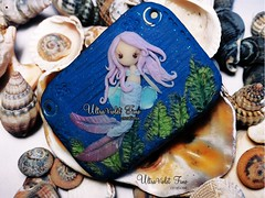 Polymer Clay -Mermaid (Crystarbor creations) Tags: pink fish nature water leaves landscape doll waves handmade crafts chibi violet shell craft jewelry fimo fairy clay kawaii mermaid ultraviolet charms ultra artisan pendant sirena creations cernit polymer