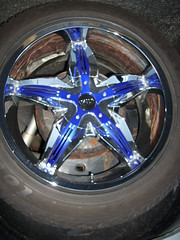 Blue rimmed tires (Cool 'Cuda) Tags: blue wheel tire rim rimmedtires