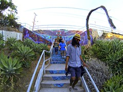 Hoover Walk (Pedestrian Photographer) Tags: color beer stairs franklin los mural stair angeles hiking walk go group steps july hike stairway hills step mendoza richard hollywood pro hoover feliz walkers ribbet 2014 stairstreet g4271425b