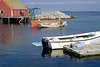 Red, white and blue (halifaxlight) Tags: blue red sunlight white canada reflections boats novascotia overcast wharf peggyscove sheds vanagram