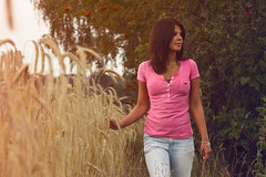walk along (flauschviech) Tags: portrait sky woman cloud tree apple girl field leaves shirt photoshop hair nose photo necklace corn hands shoot shot sundown arm cloudy body walk leg profile lips clothes jeans hippie boho hollister