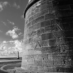 Lighthouse_Battery (PJT.) Tags: new sea sky lighthouse water rock wall clouds river boat sand sandstone brighton gun sailing military mason curtain battery tracks estuary blocks mersey wirral merseyside weathering scarring pattena