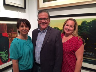 Maria and Alejandro Aguirre with Silvia Ortiz, Director of the Americas collection at the Ernesto Cardenal opening