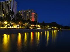 Waikiki Reflections (tquist24) Tags: ocean longexposure summer reflection beach water night canon reflections geotagged hawaii evening waikiki oahu july pacificocean diamondhead nightsky bluehour waikikibeach 2014 canonpowershotsx10is