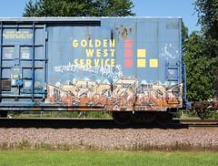 Motion (quiet-silence) Tags: railroad motion art train graffiti flat railcar boxcar graff freight goldenwest fr8
