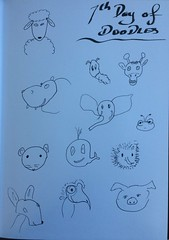 seventh day of doodling (Leonard John Matthews) Tags: elephant art animals mouse pig day sheep faces exercise ant 7 doodle kangaroo emu whale hedgehog giraffe hippo draw seventh grub mythoto