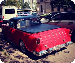 1955 Nomad or El Camino? (Digital_Third_Eye) Tags: red classic chevrolet 1955 wisconsin outdoors gm august icon chevy custom 2014 danecounty tasteofmadison