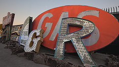 02468156-64-Where Neon Goes to Die-43-HDR (Jim Beatniks are out to make it rich) Tags: sunset red usa signs history sign america downtown neon desert lasvegas dusk nevada wideangle places gas hdr neonmuseum neonboneyard neongraveyard canon5dmarkii