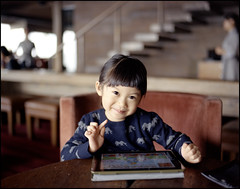Smiley. (MichelleSimonJadaJana) Tags: china portrait color 120 girl childhood analog children kid shanghai pentax scanner documentary lifestyle snaps jana epson medium format 6x7   smc f28 67ii flatbed jada 75mm pentax67 vuescan v750 gtx970