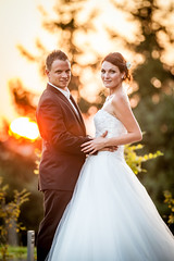 Bára & Petr (Mira Schwanzer) Tags: marriage wedding love groom bride sundown couple portrait light dress white fashion sun beam ray lovers passion happy happiness husband woman celebration celebrate ring touch wed kiss trees dusk gold yellow embrace