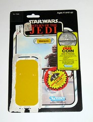 star wars return of the jedi weequay kenner 1984 cardback 77 back made in hong kong with anakin skywalker and coin offers a (tjparkside) Tags: weequay skiff guard tatooine jabba hutt desert anakin skywalker coin offer sticker stickers kmart price tag 247 200 made hong kong 1984 77 back star wars sw rotj return jedi ep episode vi 6 six kenner vintage cardback burgandy red cloak bib fortuna green pop proof purchase punched offers mail away order