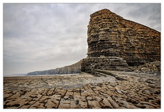 Welsh Sphinx (tina777) Tags: welsh sphinx rock cliff sea ocean sky clouds nash point photoshop elements topaz adjust ononesoftware coast heritage glamorgan vale wales south winter 2017