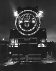 Midnight portrait, 1976 (clarkfred33) Tags: sp4449 southernpacific sphistory vintage vintagephoto historicphoto nighttime timeexposure americanfreedomtrain 1976 stpetersburg midnight portrait blackandwhite famouslocomotive historiclocomotive daylightlocomotive