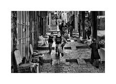 (Jan Dobrovsky) Tags: city contrast document grain israel jerusalem kids middleeast monochrome nikond80 oldtown people run stone street texture