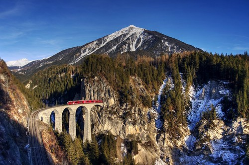 Little red train in the Swiss Alps