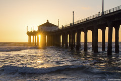 Manhattan Pier Sunset (isaac.borrego) Tags: uploadedviaflickrqcom sand beach water ocean clouds sky pier pacificocean manhattanbeach losangeles california canonrebelt4i