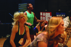 (L to R) Jenifer Foote (Sheila), Roger Ellis (Richie), Juliane Godfrey (Bebe) and Kate Levering (Cassie) during rehearsal for A Chorus Line, produced by Music Circus at the Wells Fargo Pavilion June 24 – 29, 2014. Photos by Charr Crail.