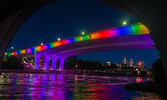 Rainbow Bridge (Riddhish Chakraborty) Tags: color mississippi rainbow minneapolis pride neaon top20bridges i35bridge